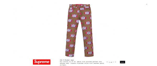Supreme 666 5 Pocket Jean