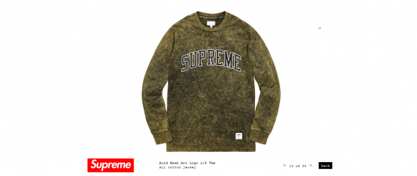 Supreme Acid Wash Arc Logo L S Tee