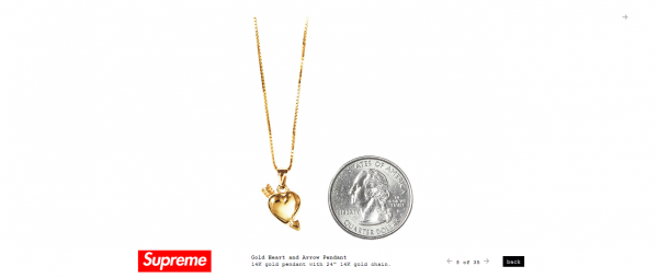 Supreme Gold Heart and Arrow Pendant