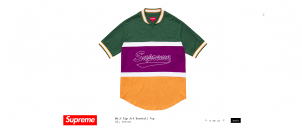 Supreme Half Zip S S Baseball Top