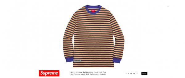 Supreme Multi Stripe Reflective Patch L S Top