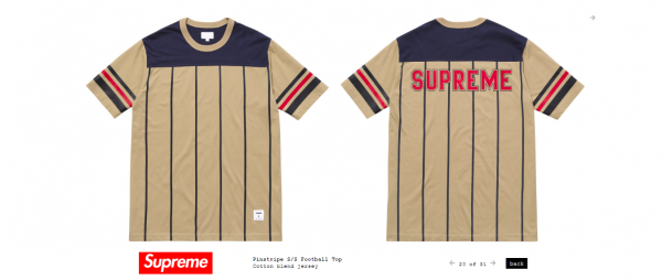 Supreme Pinstripe S S Football Top
