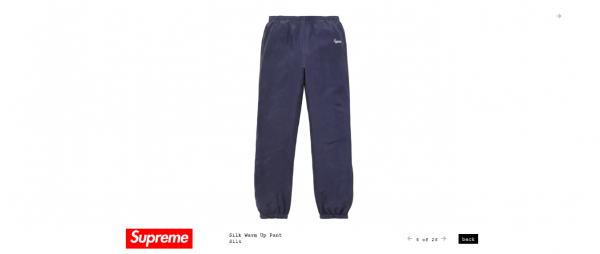Supreme Silk Warm Up Pant