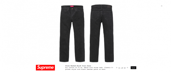 Supreme Stone Washed Black Slim Jeans