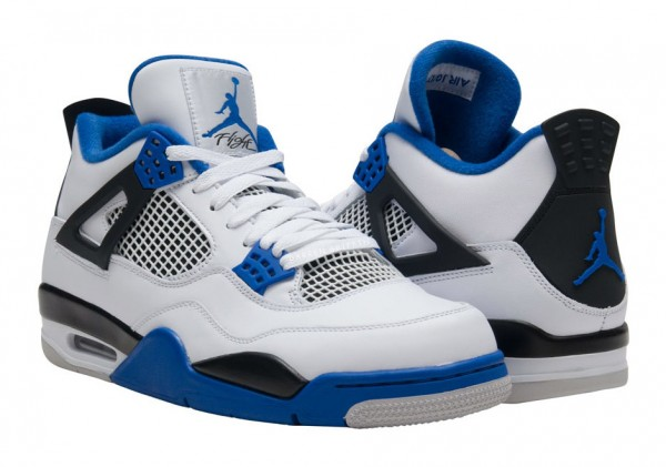 "Air Jordan 4 ""Motorsports"" White/Game Royal-Black 308497-117. March 26, 2017"
