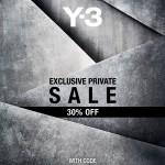 【得情報】Y-3 & Y-3 SPORT プライベートセールスタート 定価より30%オフ【コード必須】