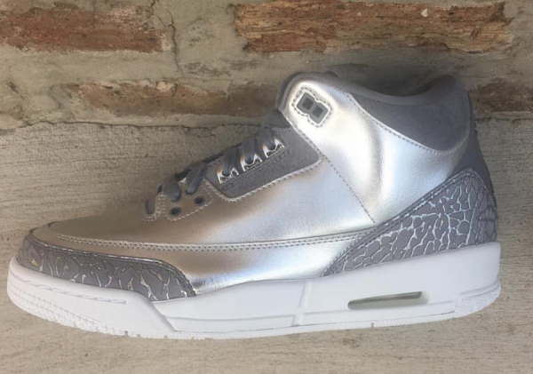 new style 60ebc 1f151 Air Jordan 3 PRM HC GG. Color  Chrome Cool Grey-White-Metallic Silver Style  Code  AA1243-020. Release Date  November 11, 2017