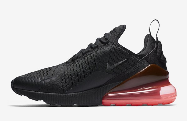 Nike Air Max 270. Color Black/Black,Hot Punch Style Code AH8050,010.  Releasee Date February 2, 2018 エア マックス