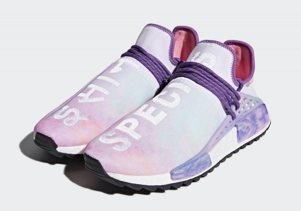 "5c19b114d Pharrell x adidas NMD Hu Trail ""Holi"" Color  Pink Glow Flash Green-Lab  Purple Style Code  AC7362 Release Date  March 16"
