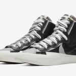 "【10月8日】Sacai x Nike Blazer Mid ""Black/Wolf Grey""  BV0072-002"