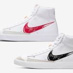 【4月14日発売】Nike Blazer Mid 77 Sketch CW7580-100, CW7580-101